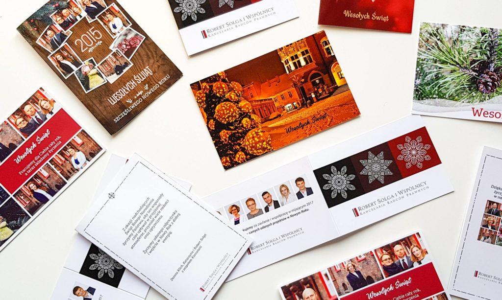 Kartki świąteczne własnego projektu dla kancelarii prawnej